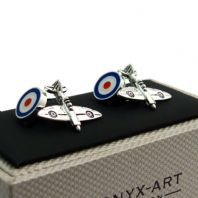 Spitfire and RAF Roundel Cufflinks Traditional chain links by Onyx-Art CK486